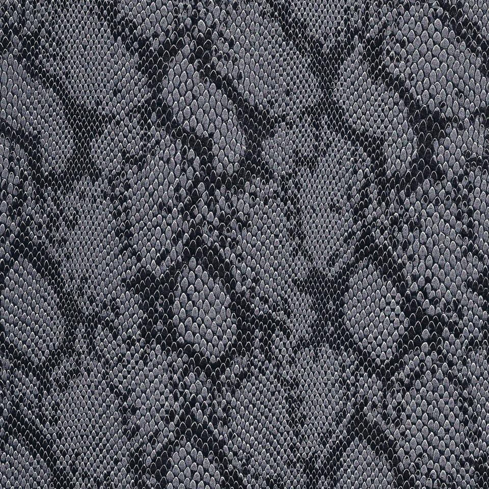 Kunstleder Schlange silber-schwarz