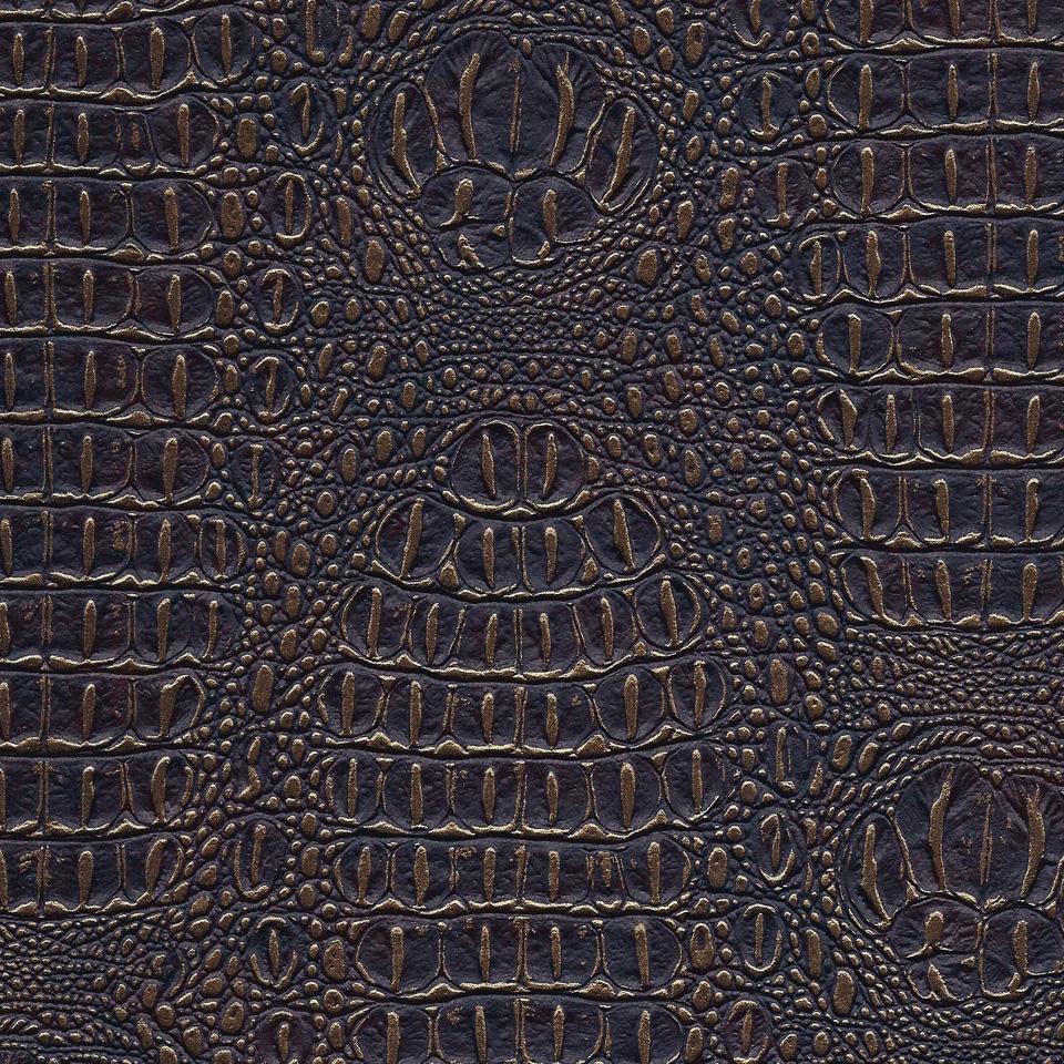 Kunstleder Krokodil dunkelbraun-gold